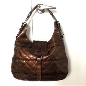 Burberry patent leather rock stud hobo bag purse